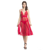 Sheer Red Plunged Neck Night Dress, , sleepwear Clovia Thailand