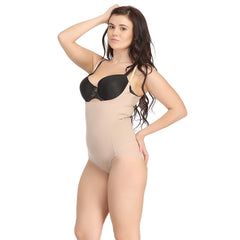 Body Suit In Skin With Detachable Straps, M / Nude, ShapeWear Clovia Thailand