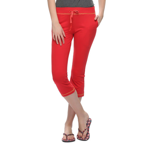 Soft Cotton Comfy Capri In Red, , Capri Clovia Thailand