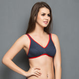 Cotton Non-padded Tshirt Bra In Grey, 32B / Black, Bra Clovia Thailand