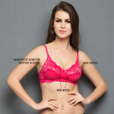 Fashion Lace Cups Non-padded Bra In Hot Pink