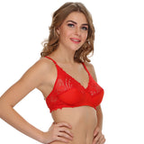 Fashion Lace Cups Non-padded Bra In Red, 32B / Red, Bra Clovia Thailand