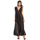 String Back Sexy Long Nightdress, S / Black, sleepwear Clovia Thailand