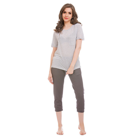 Cotton Striped Top With Solid Capri - Grey, , Capri Clovia Thailand