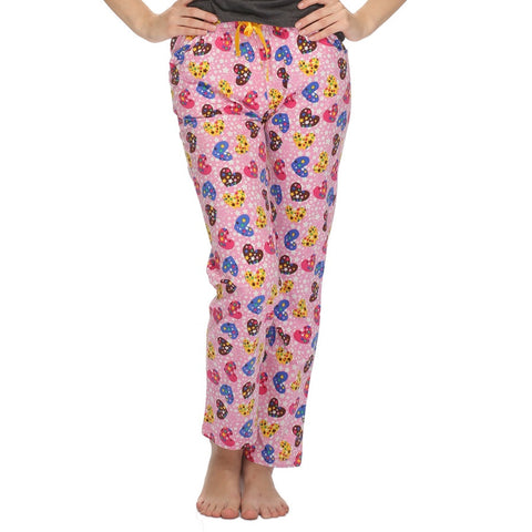 Cotton Sweetheart Printed Pyjama In Light Pink, , Lounge Bottom Clovia Thailand