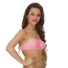 Tube Bra With Detachable Transparent Straps, 32B / Pink, Bra Clovia Thailand