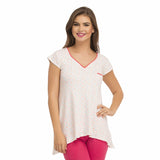 V-Neck Top With Short Sleeves - White, S / White, T-shirt Clovia Thailand