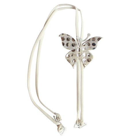 White Detachable Double String Straps With Fabric Butterfly Embellishment, , Bra accessories Clovia Thailand