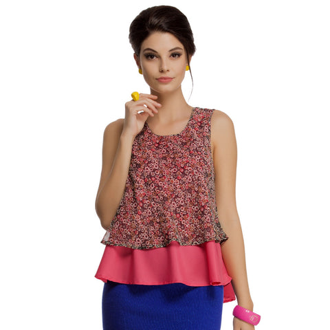 Layered Sleeveless Chiffon Crepe Top in Reddish Pink