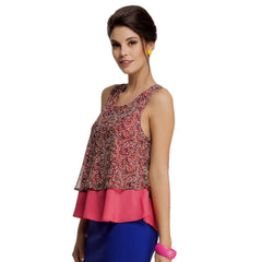 Layered Sleeveless Chiffon Crepe Top in Reddish Pink, S / Pink, WesternWear Clovia Thailand