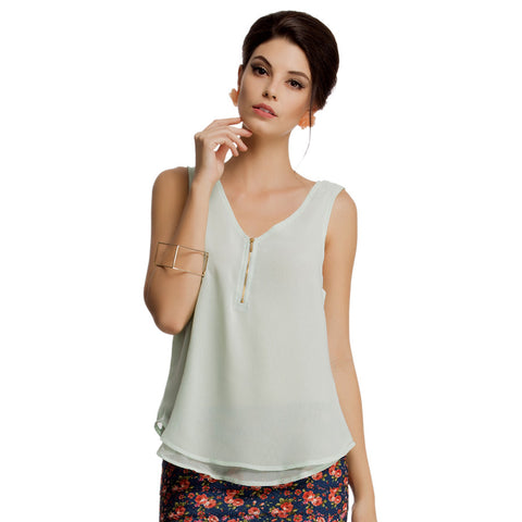 Layered Sleeveless Georgette Top in Sea Green, , WesternWear Clovia Thailand