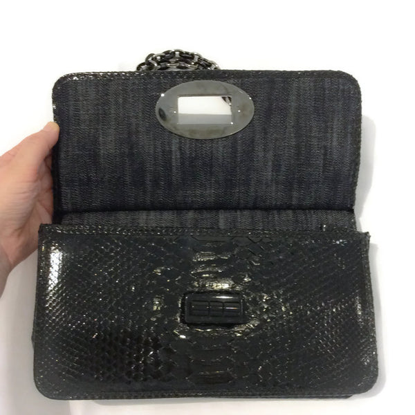 Dark Denim And Black Python Shoulder Bag by Chanel front