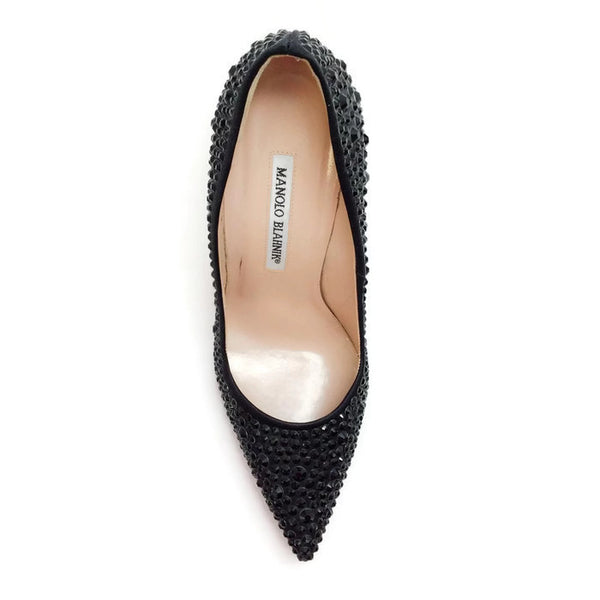 Bb Jet Crystal Coated Satin Black Pumps by Manolo Blahnik top