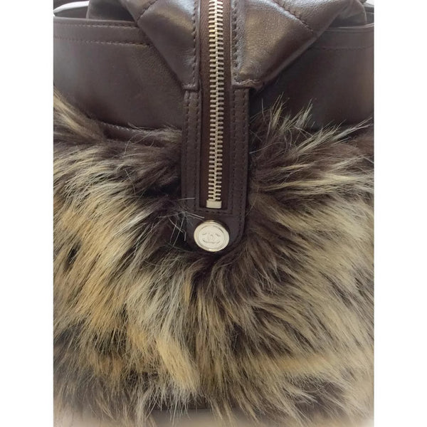 Faux Fur Leather Zip Brown Tote Bag by Chanel side detail
