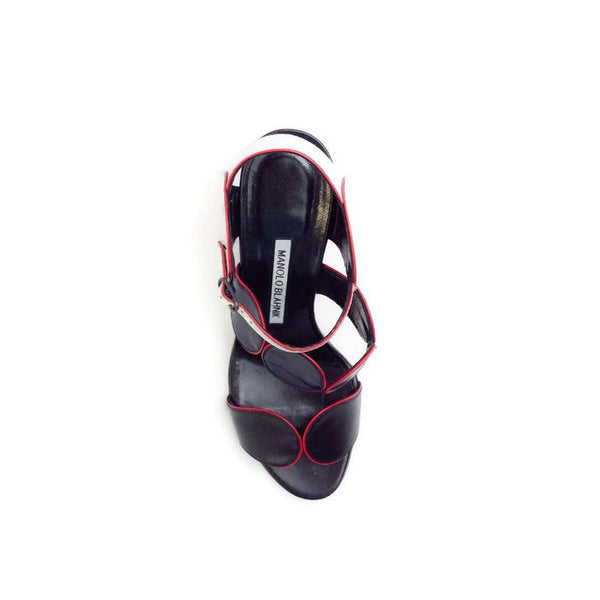 Piped Circle Sandal in Black / White / Red by Manolo Blahnik top
