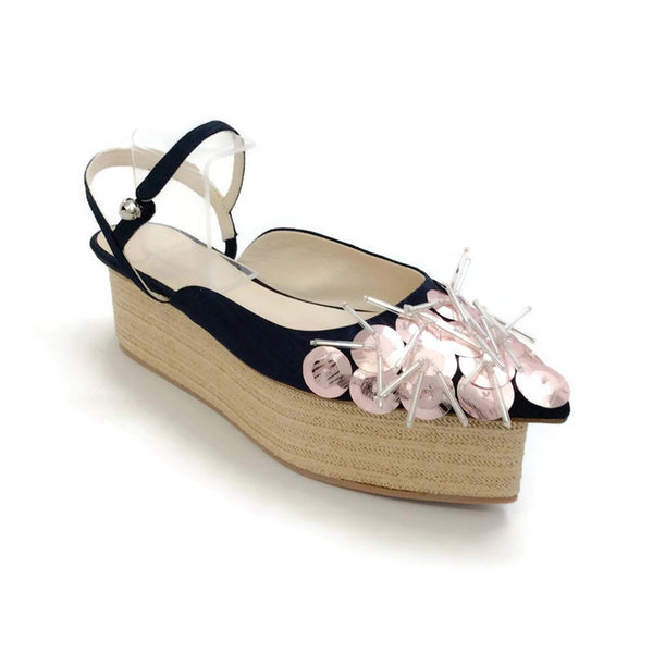 Sequin Beaded Platform Sandal Navy / Pink by Delpozo