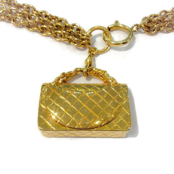 Vintage Gold Chain Handbag Belt by Chanel charm back