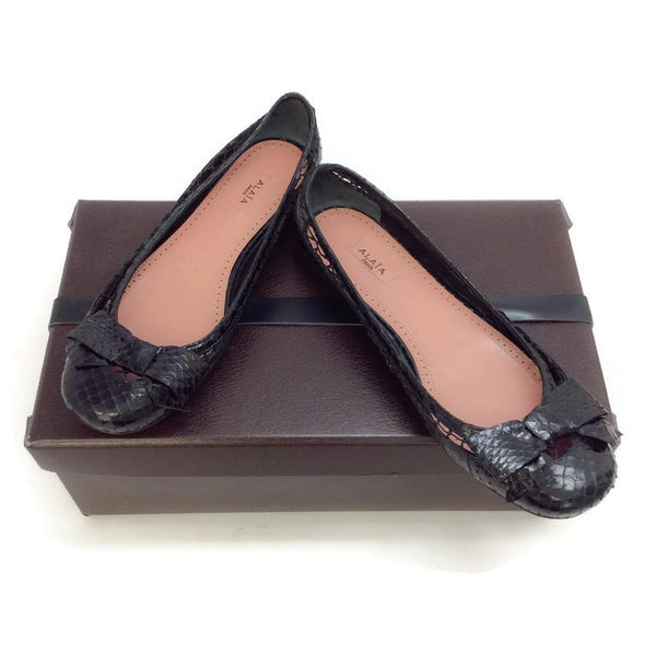 Black Snake With Bow Flats by Alaïa with box