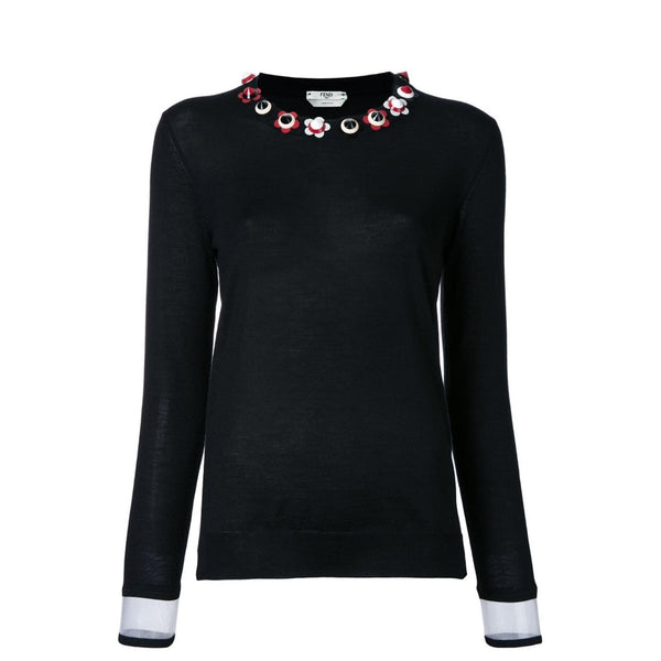Fendi Cashmere with Flowers Black Sweater