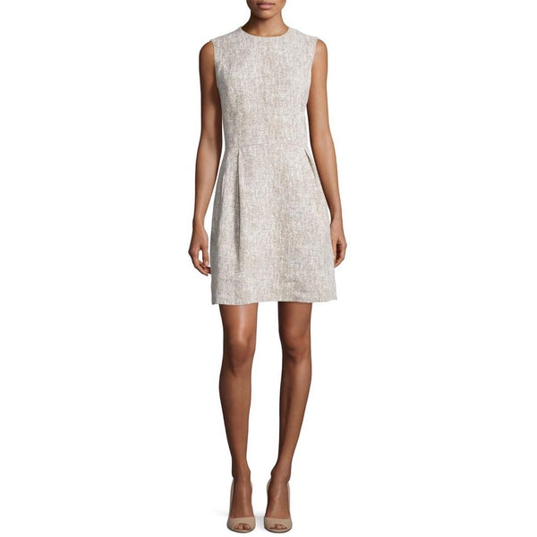 Michael Kors Hemp / White Sleeveless Tweed Dress