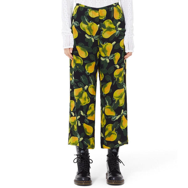 Marc Jacobs Black / Yellow Pear Print Wide Leg Pants