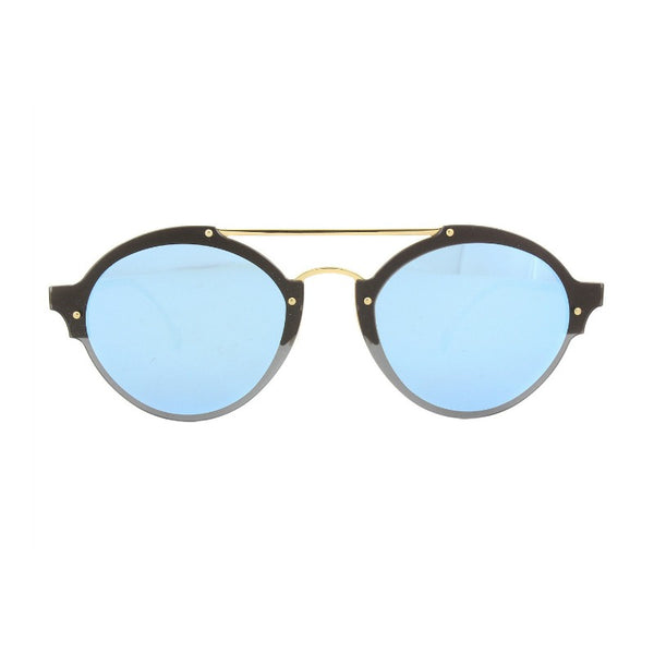 Illesteva Malpensa Sunglasses Black and Gold with Blue Mirrored Lenses