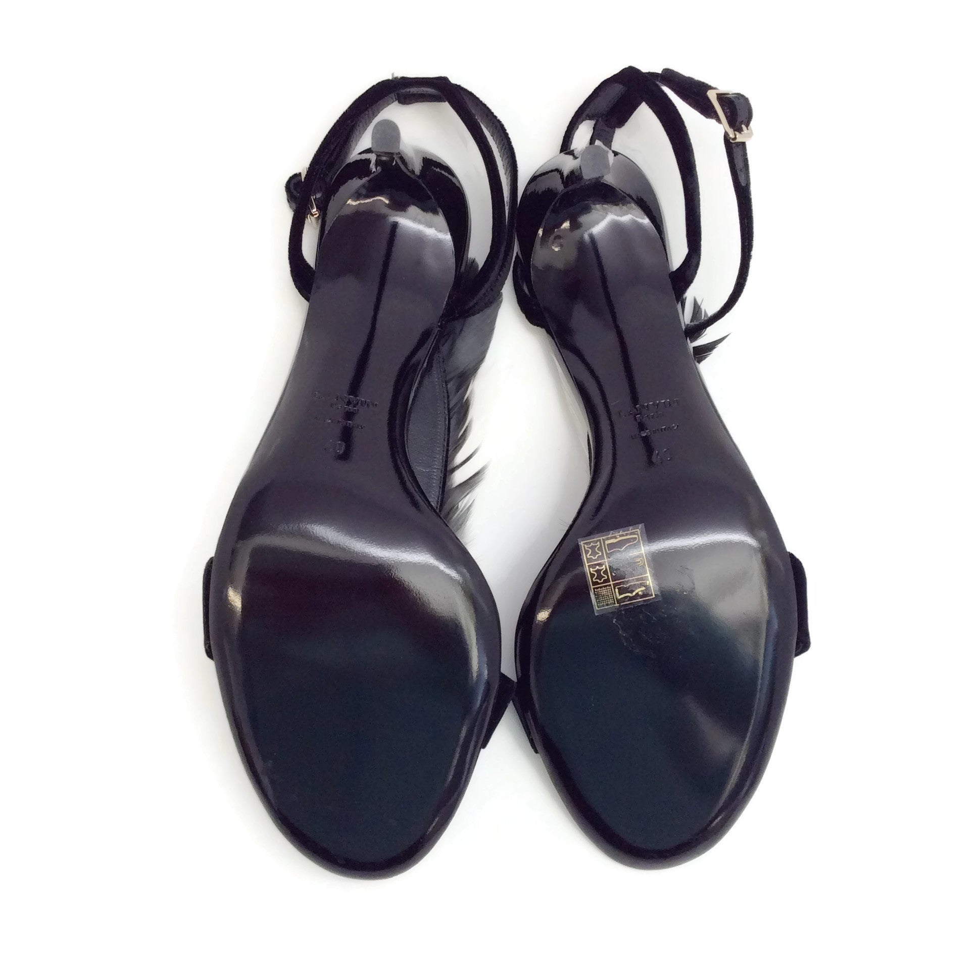 Lanvin Black Velvet and Feather Sandals