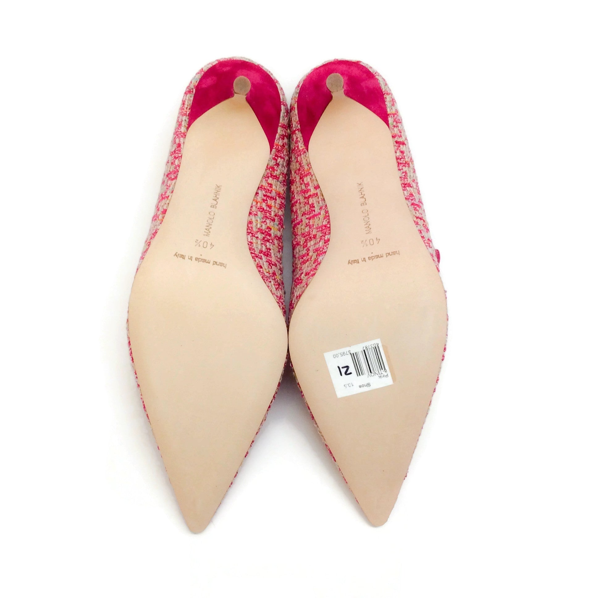Manolo Blahnik Pink Tweed Tinov Pumps