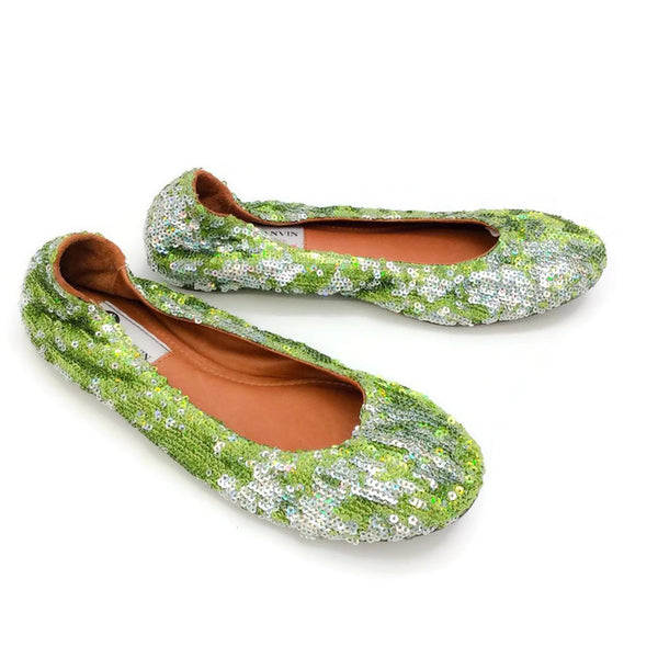 Sequin Ballet Flat Green by Lanvin