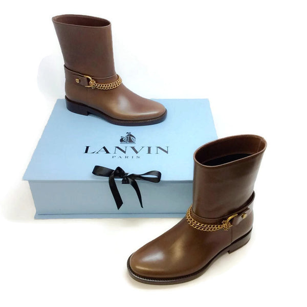 Chain-strap Leather Moto Brown Boots by Lanvin with box