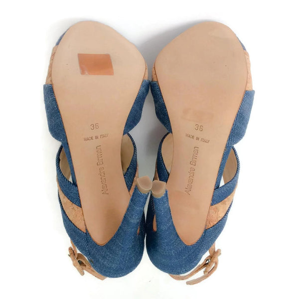Denim and Cork Platform Sandals by Alexandre Birman 36
