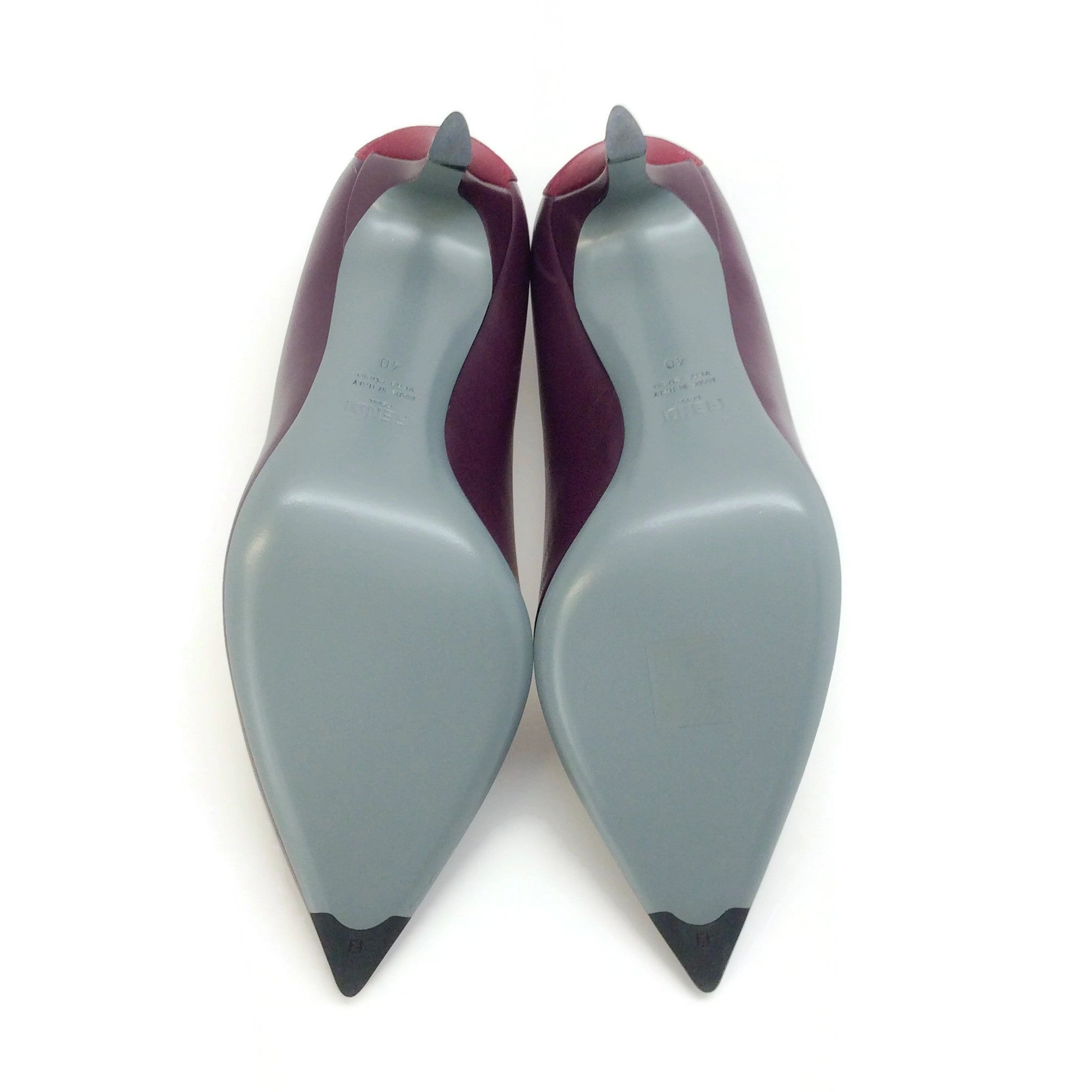 Fendi Black Cherry Grosgrain Ribbon Pumps