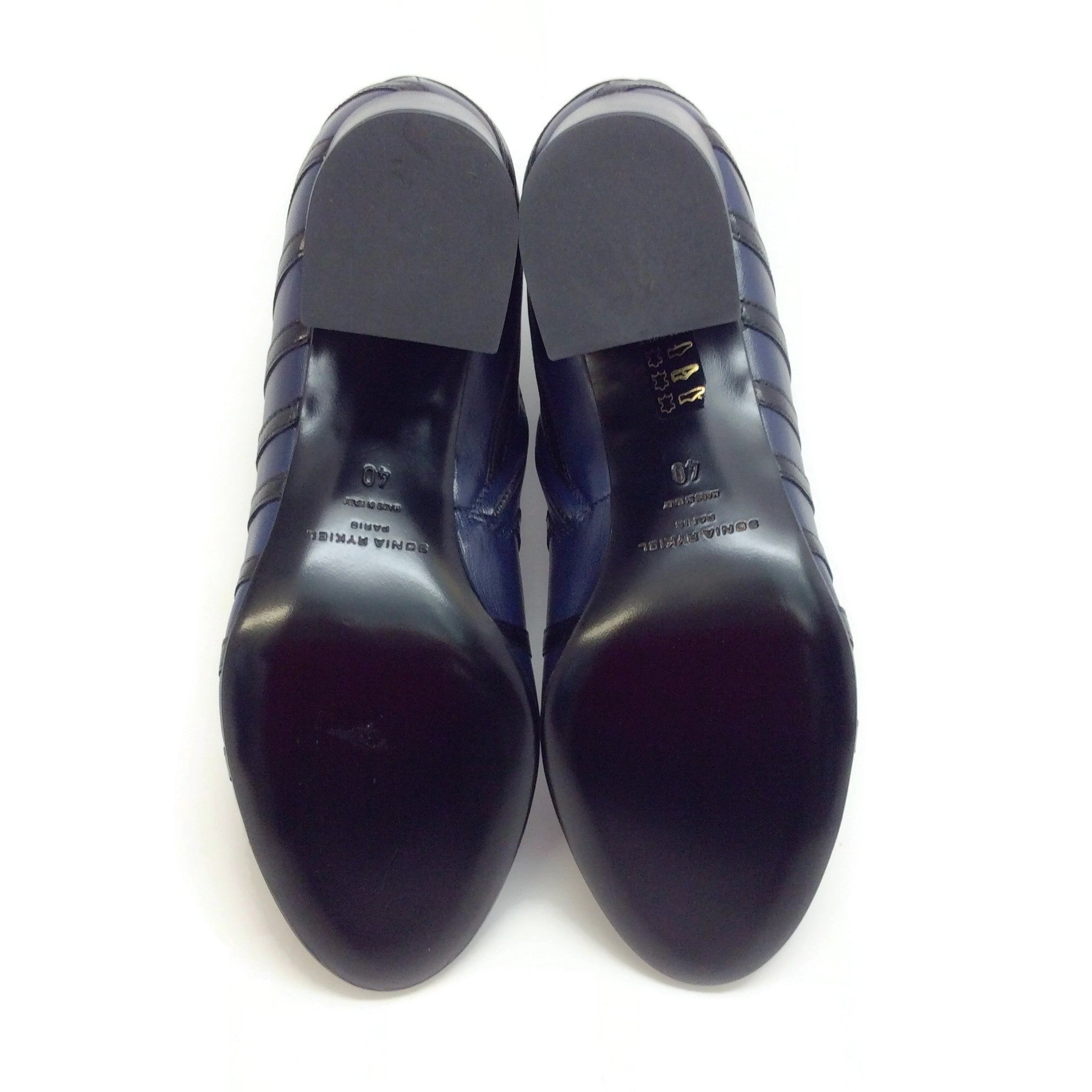 Sonia Rykiel Navy / Black Leather Stripe Detail Chunky Heel Boots