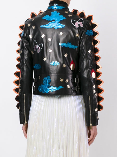 Valentino Black Crazy Fantasy Leather Jacket