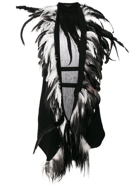 Ann Demeulemeester Black / White Feather Trimmed Gilet