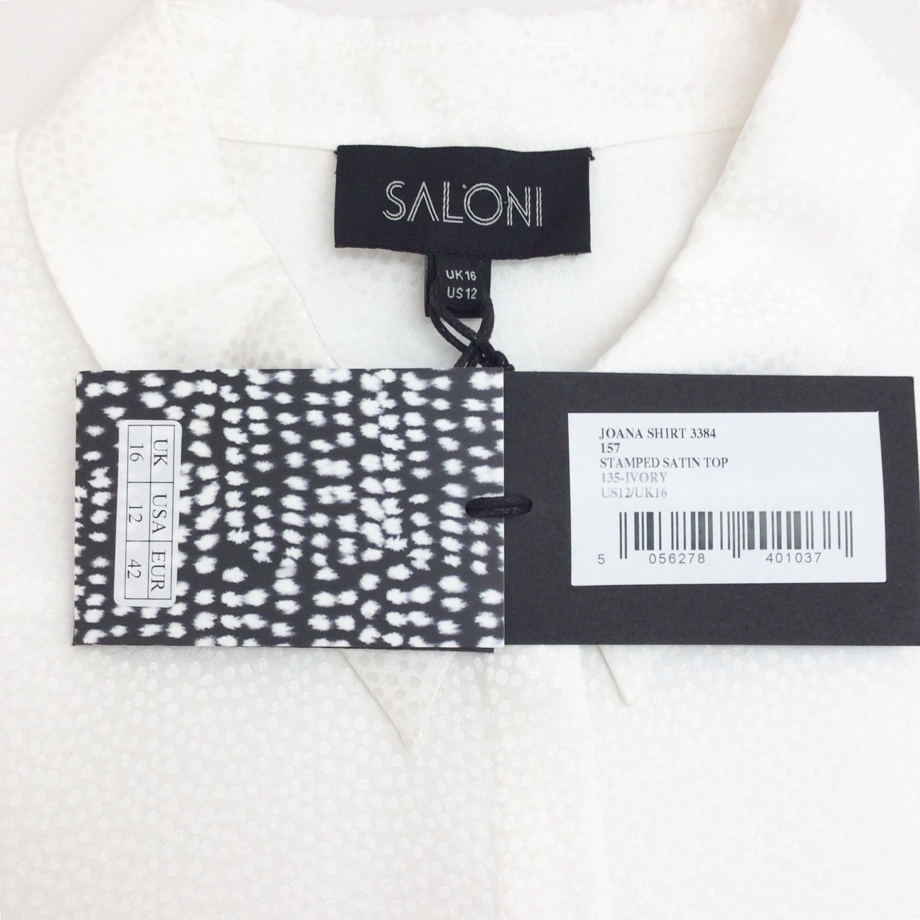 Saloni Ivory Joana Stamped Satin Blouse