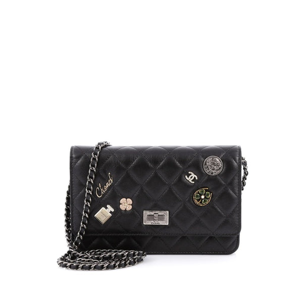 Reissue Wallet on Chain 2015 Lucky Charms Black Calfskin Leather