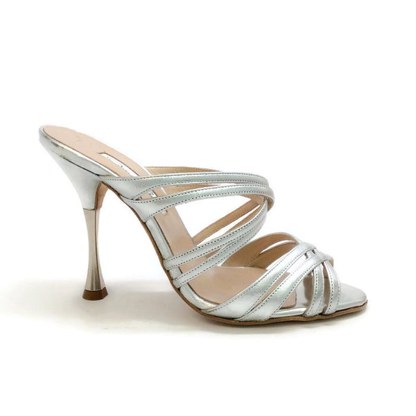 Lilyana Silver Sandals by Oscar de la Renta outside