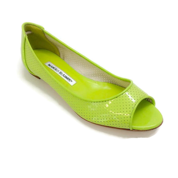 Anetina Lime Patent Leather Flats