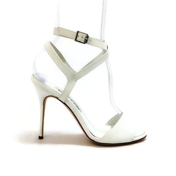 Llonicabi 105 White Patent Sandals by Manolo Blahnik outside