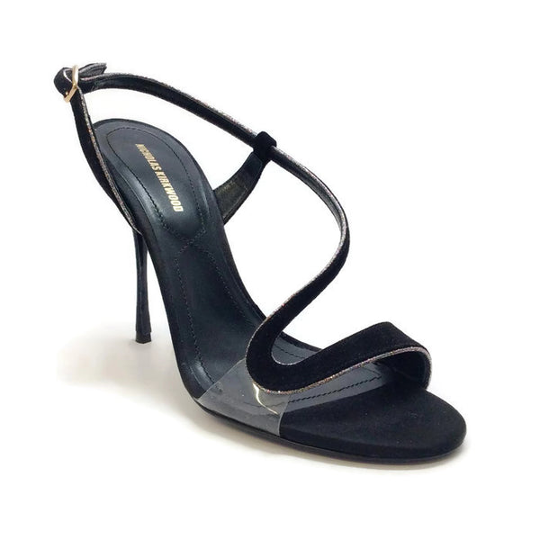 Suede and Glitter Black Sandals by Nicholas Kirkwood