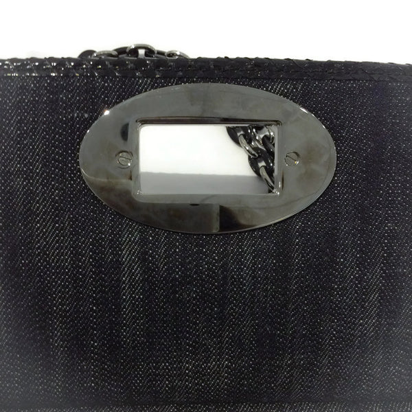 Dark Denim And Black Python Shoulder Bag by Chanel interior clasp