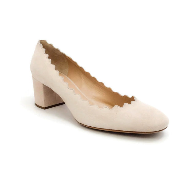 Scalloped Suede Nude Pumps by Chloe