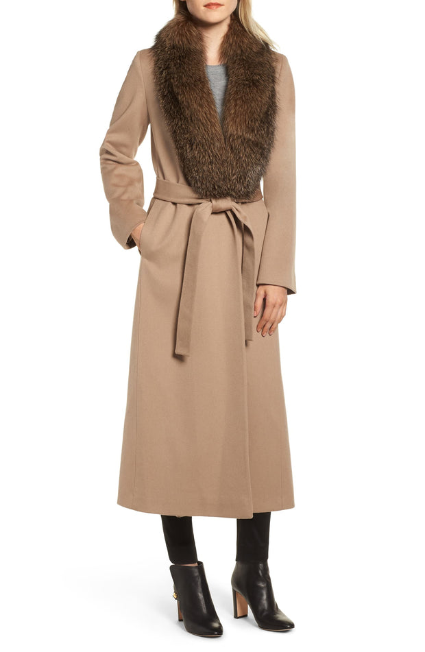 Fleurette Camel Shawl Fox Collar Tie Waist Coat