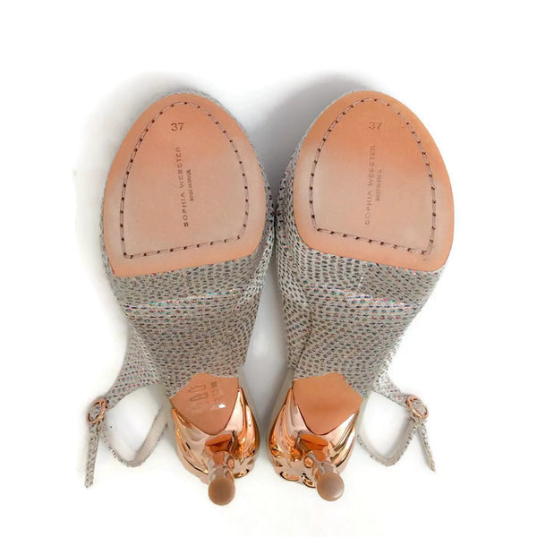 Peron Metallic Jacquard Platforms by Sophia Webster soles
