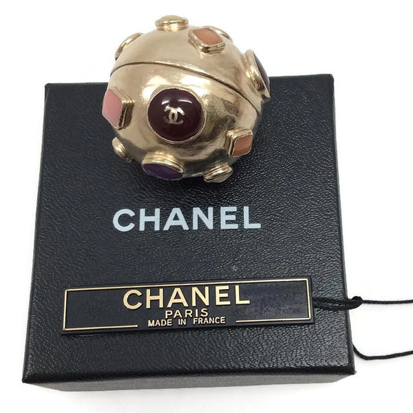 Gold Toned Sphere Pendant by Chanel with box and tag