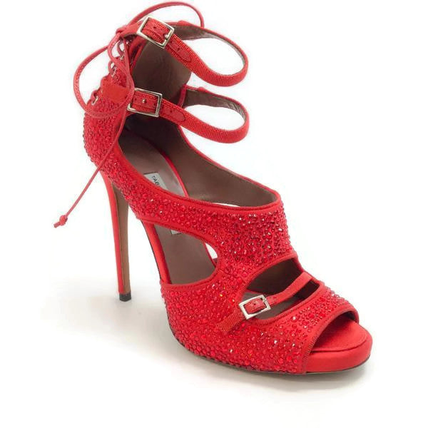 Bailey Red Satin Crystal Pumps by Tabitha Simmons