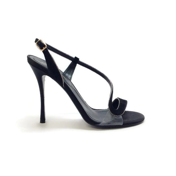 Suede and Glitter Black Sandals by Nicholas Kirkwood outside