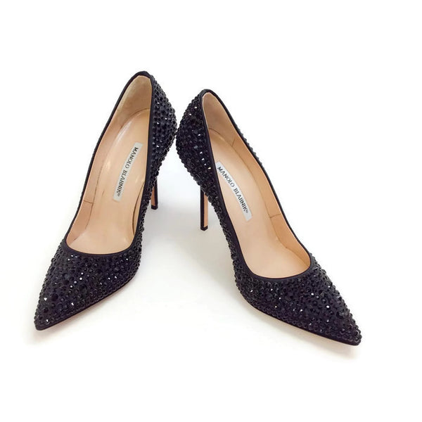 Bb Jet Crystal Coated Satin Black Pumps by Manolo Blahnik pair