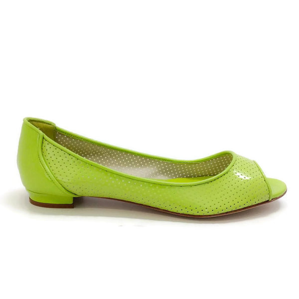 Anetina Lime Patent Leather Flats outside